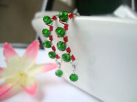 RED GREEN Crystal Silver Marquise Dangle Earrings Artisan Christmas Holiday