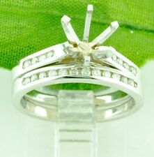 0.40 ct 14k Solid White Gold Semi Mount ladies Natural Diamond Ring  Channel Set