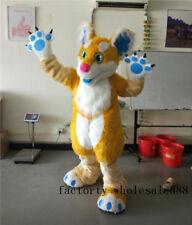 Sexy Long Fur yellow Husky Mascot Costume suit Fox Dog Birthday party Cosplay