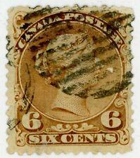 Canada 1868-76 Stamp #27 6c dark brown, Used, HR