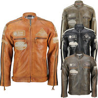 Mens Real Soft Leather Fitted Racing Biker Jacket Vintage Urban Retro Look