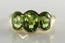 SOLID 9CT 9K GOLD PERIDOT TRILOGY ART DECO INS RING FREE RESIZE