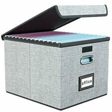 Upgrade Portable File Organizer Box With Lids Collapsible Linen Hanging Filing S