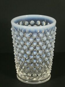 Fenton Clear and Opalescent Hobnail Glass Vase, 8.7cm, Beautiful