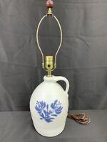 VIntage Pfaltzgraff USA Yorktowne Blue & Grey Folk Art Stencil Jug Table Lamp