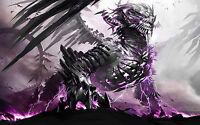 Framed Print - Gigantic Mechanical Purple Dragon (Picture Mythological Fantasy)