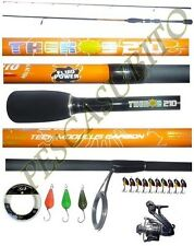 kit canna light spinning theros 2.10m mulinello filo ondulanti cucchiaini pesca