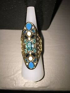 Swarovski Cyan gold plated ring size 7/55 Authentic! Take a L@@K! #5115538