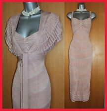 KAREN MILLEN Nude Metallic Silver Crochet Beaded Dress & Bolero KM 3 UK 12 40