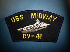 Vintage US Navy USS Midway CV-41 Aircraft Carrier Jacket Hat Patch Crest 003