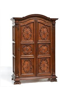 Large Antique Italian Renaissance Style Carved Two Door Armoire Cabinet