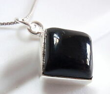 Black Onyx Pendant 925 Sterling Silver Square Cube New