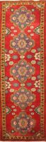 Vintage Tribal Geometric Hand-knotted RED Runner Rug Hallway Oriental Carpet 2x7