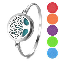 tree Perfume Bangle Bracelet Oil Diffuser Essential Aromatherapy Locket+5p pad
