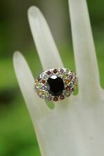Australian Black Tourmaline + Colored Stones Platinum over Sterling Ring (10)