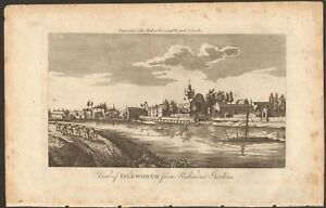 1779 ca ANTIQUE PRINT- LONDON - VIEW OF ISLEWORTH FROM RICHMOND GARDENS