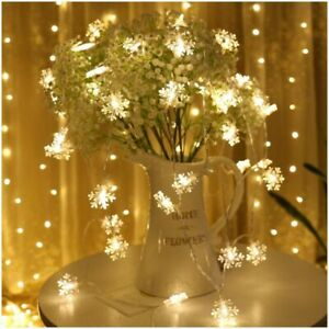 Frozen Party Supplies 3M 20 Led Snowflake String Light Garlands Christmas Trees