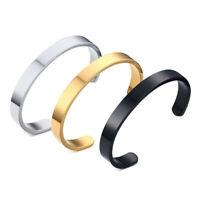 Unisex Women Men Titanium Steel Open Cuff Bracelet Bangle Simple Jewelry Gift