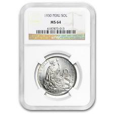 1930 Peru Silver 1 Sol MS-64 NGC - SKU#191310