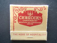 CHAUCER'S CANTERBURY RECETION AND CONVENTION CENTRE 838391 MATCHBOOK