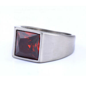 Square Red Zircon Wedding Ring Stainless Steel Men's Women's Silver Band Rings