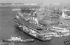 ROYAL NAVY AIRCRAFT CARRIER HMS EAGLE AT SOUTH RAILWAY JETTY PORTSMOUTH IN 1965