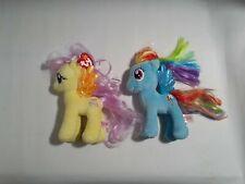 2 Lot Ty Fluttershy Plush Yellow & Blue My Little Pony Butterflies