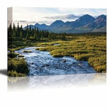 """Canvas Prints- River in Tundra on Alaska  Modern Home Deoration- 16"""" x 24"""""""