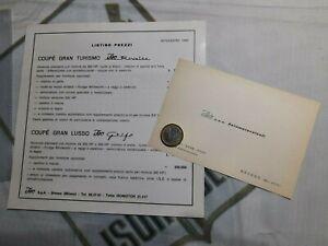 ISO RIVOLTA GT 5300 , ISO GRIFO GL , LISTINO PREZZI, NOVEMBRE 1966 , ORIGINALE