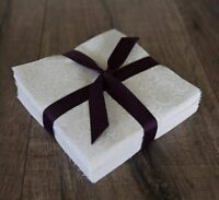 """102 White On Natural pre cut charm pack 5"""" squares 100% cotton fabric quilt"""