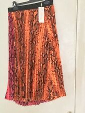 Voyelles Designer Pleated Orange And Black Skirt New With Tags