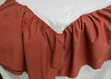 RALPH LAUREN CHAPS Russet Red & Tan Tattersall Check King Bed Skirt Dust Ruffle