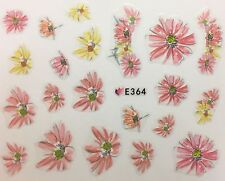 Nail Art 3D Decal Stickers Pastel Pink & Yellow Flowers E364