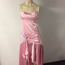 Mr K Pink Stretch Satin Cocktail Dress with Rhinestone Brooch 12 L
