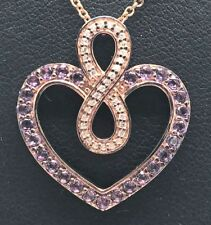 Sterling Silver 925 Rose Gold Tone Heart Amethyst CZ Infinity Love Loop Necklace