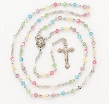 Multi Color 4 mm Swarovski Crystal Bi-Cone Sterling Silver Rosary