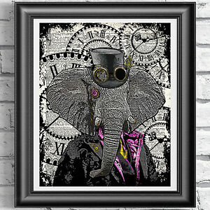 Elephant Print Vintage Dictionary Page Wall Art Picture Animal In Clothes