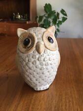 Vintage Ceramic Owl Animal White Tan Glazed Figure Pottery Stoneware Stewart ?
