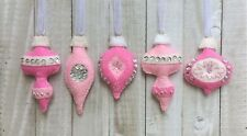 Christmas Ornament Felt Embroidery Kit Vintage Style in Silver and Pinks Makes 5