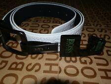 New Hugo Boss mens black white big logo reverse reversible jeans trouser belt