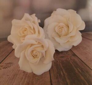 3 Ivory SugarRose's  Wedding/celebration Cake Decoration/topper