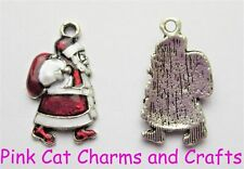 5 x Tibetan Silver & Enamel RED FATHER CHRISTMAS SANTA 23mm Charms Pendants Bead