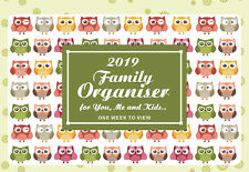 2019 Owls family organiser calendar - one week to view /home/office Planner