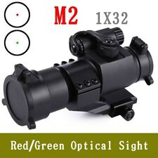 Tactical Red Green Dot Laser Riflescope 32mm M2 Sight Telescope Fit 20mm Rail