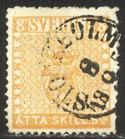 SWEDEN #4e SCARCE Used - 1857 8s Yellow Orange ($575)