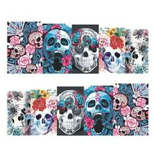 Full Wrap Nail Art Water Transfers Stickers Halloween Skulls Flowers (STZ450)