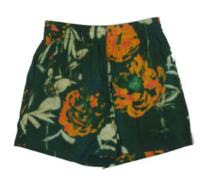 Women's Dries Van Noten Green Orange Cotton Tie Dye Drawstring Shorts Size M