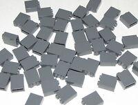 Lego Lot of 50 New Dark Bluish Gray Bricks 1 x 2 x 2 with Inside Stud Holder