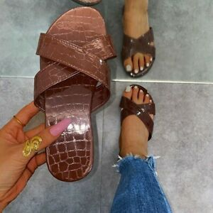 Ladies Flat Sandals Peep Toe Summer Slip On Beach Slipper Mules Shoes Casual Sex