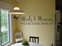 MEALS AND MEMORIES ARE MADE HERE VINYL WALL DECAL KITCHEN QUOTE DINER WORDS